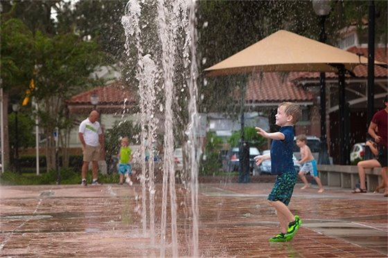 Child Playing in the Interactive Fountain/Splash Pad