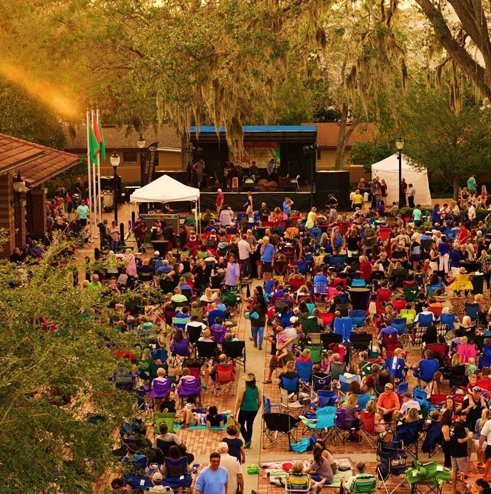 Blues & BBQ Concert in 2018 with people watching an outdoor concert