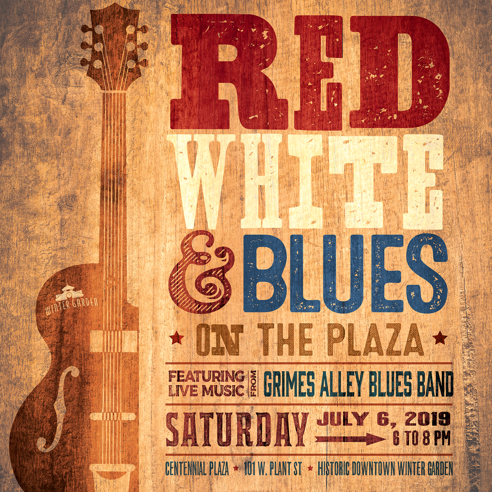 Red White and Blues Poster with a Guitar
