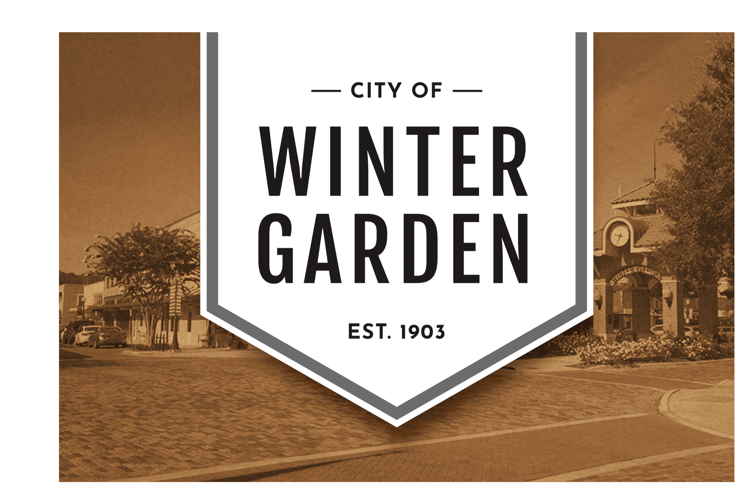 City of Winter Garden Banner in black and white