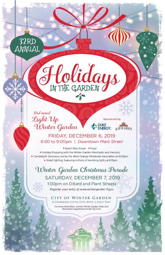 Light Up Winter Garden/Christmas Parade Poster