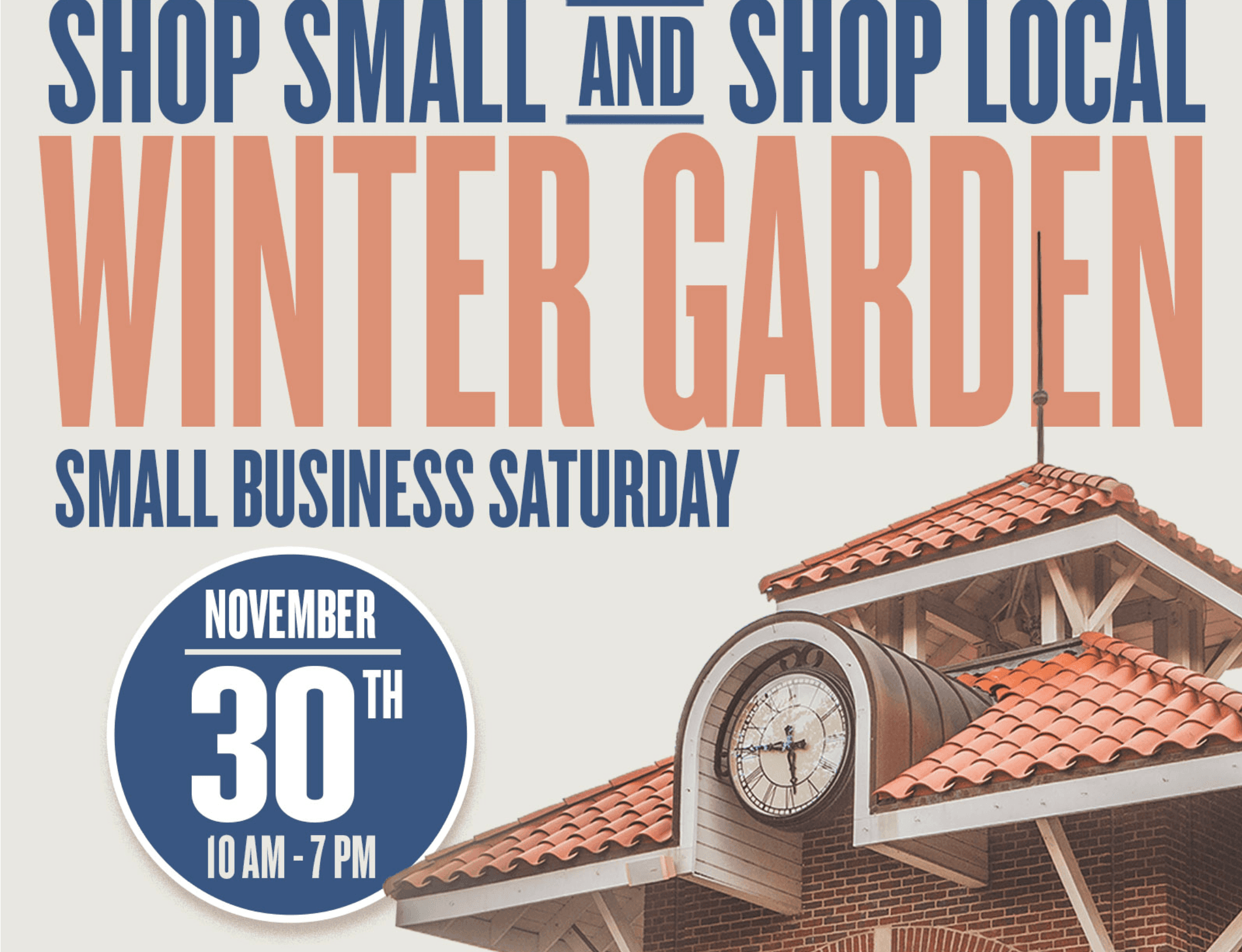 Flier with Shop Small Logo in blue and orange