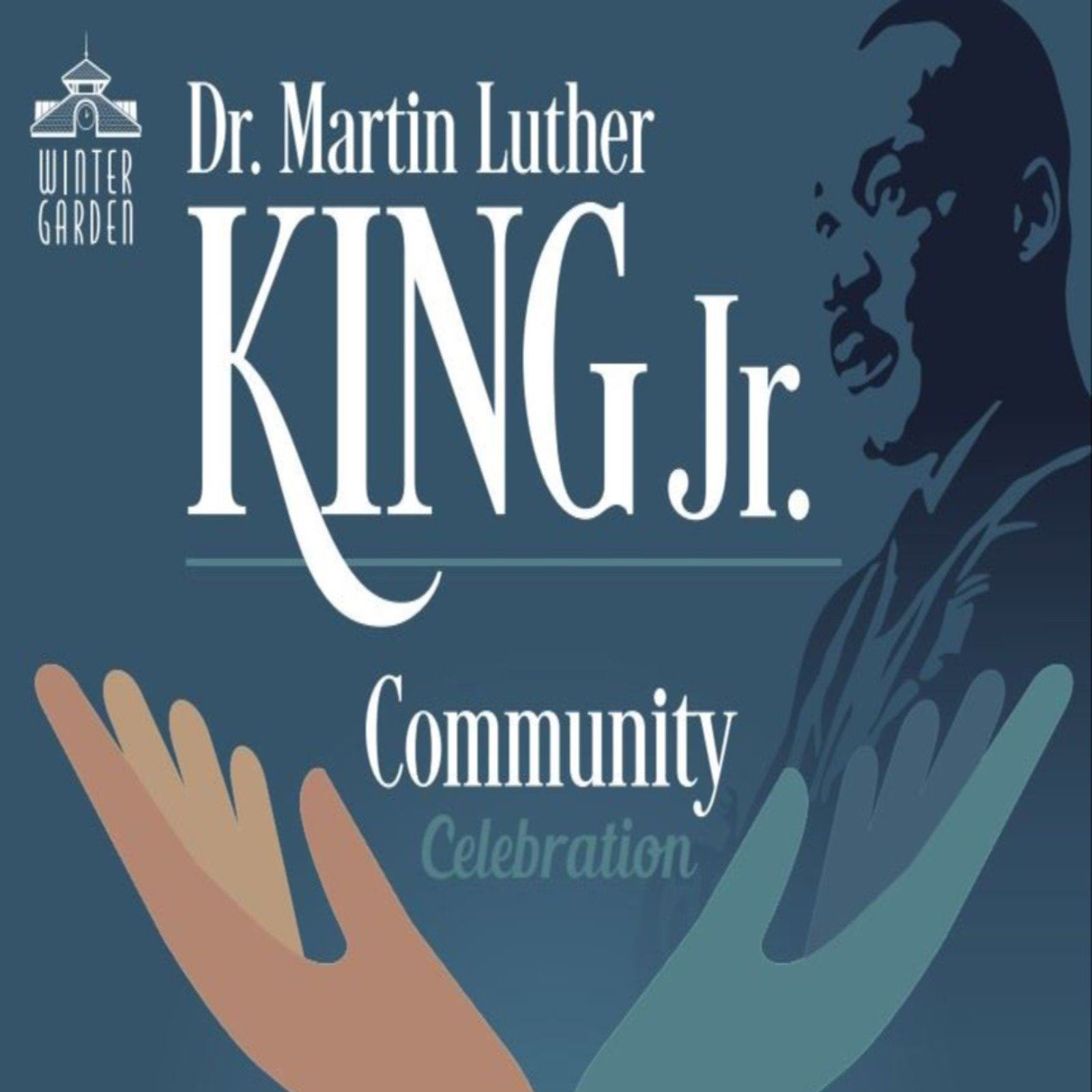 Black and gray poster for MLK Celebration