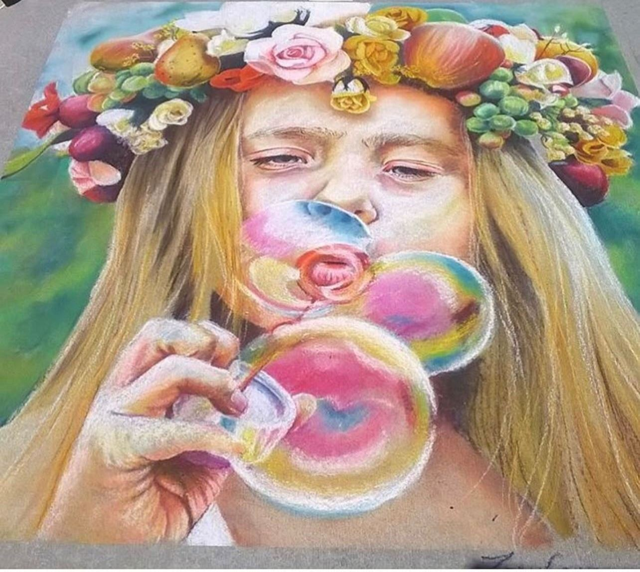 Chalk Art of Girl Blowing Bubble
