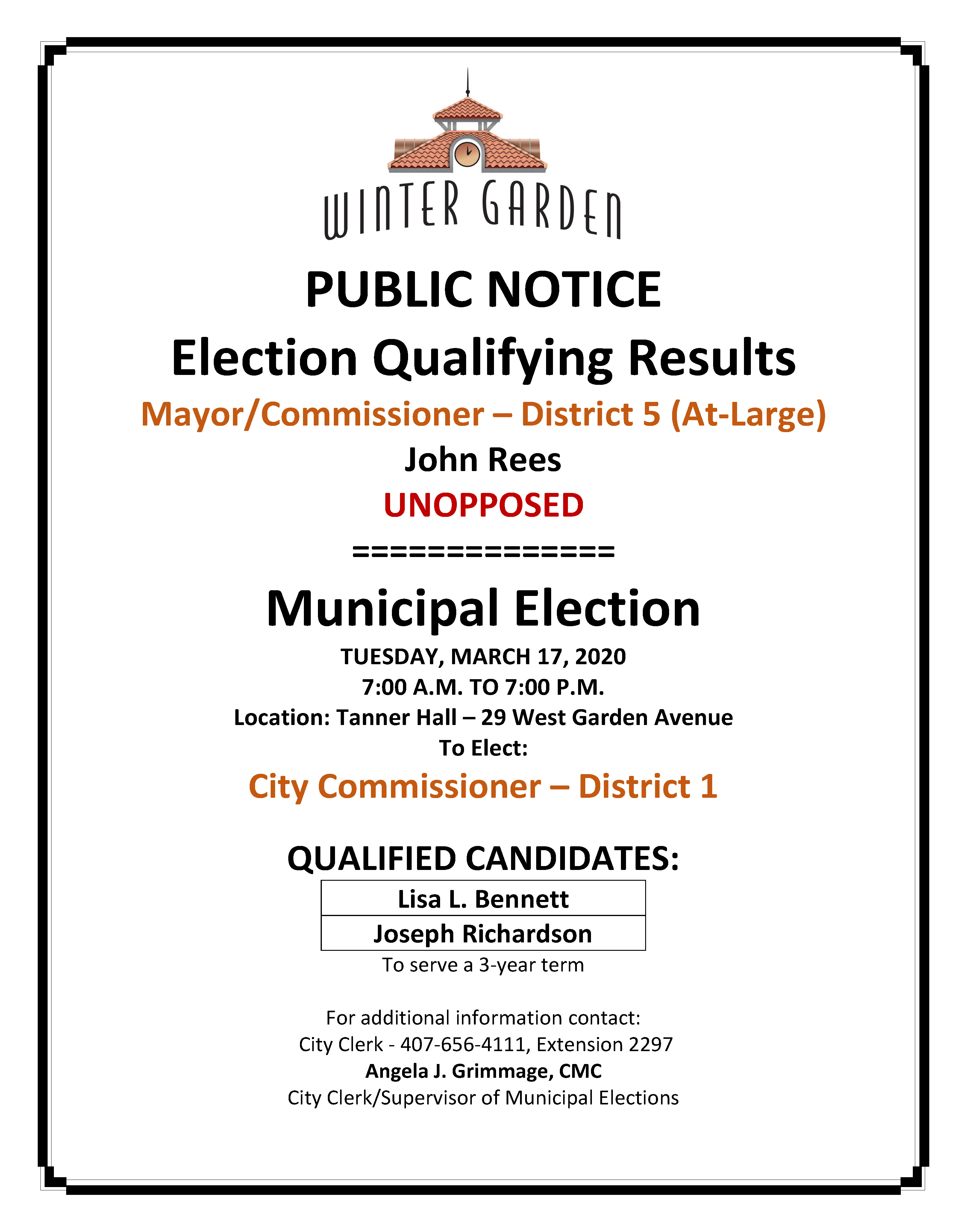 2020 - NOTICE - QUALIFY RESULTS - ELECTION DATE - TIME