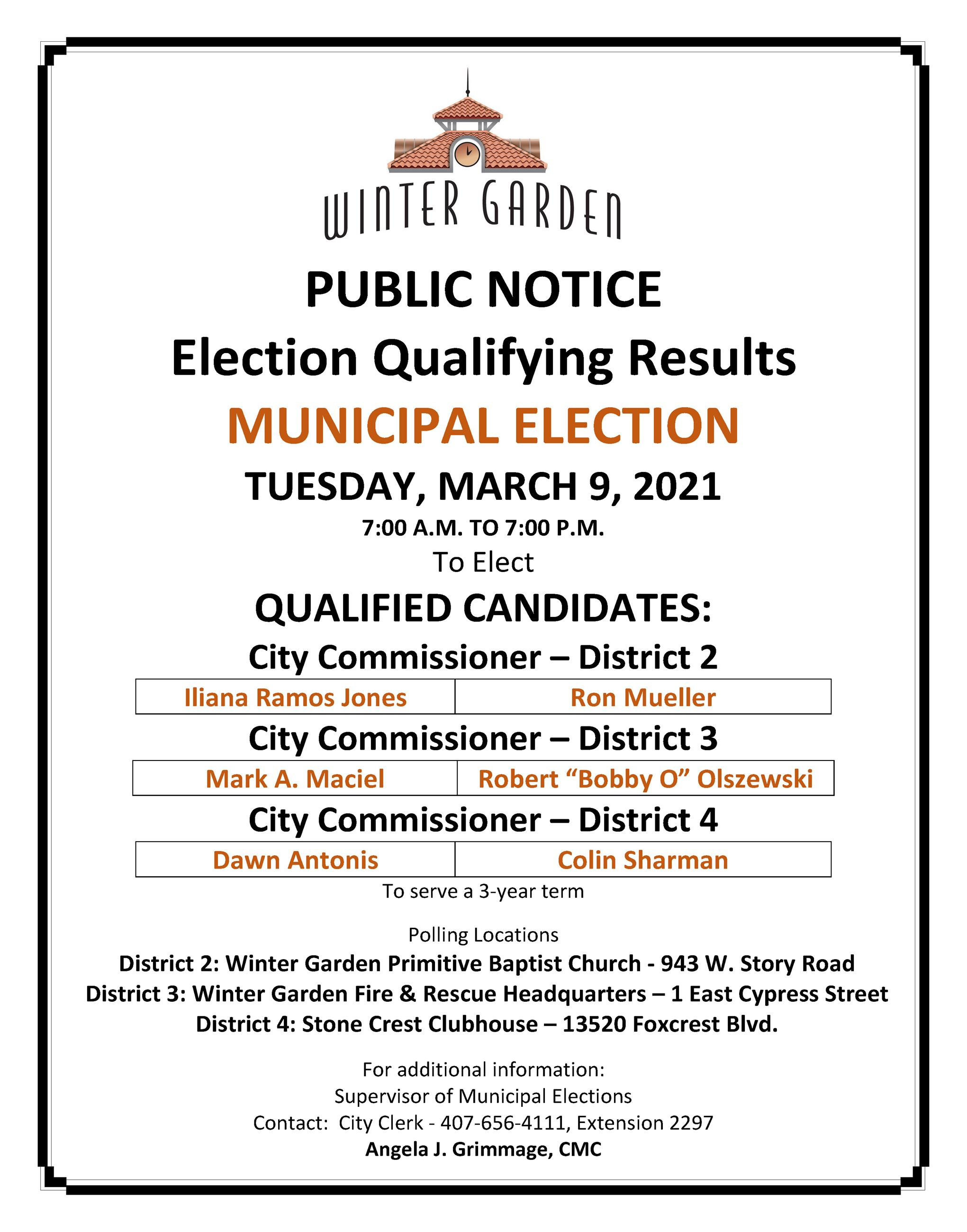 2021 - NOTICE OF MUNICIPAL ELECTION - MARCH 9 2021- QUALIFY RESULTS